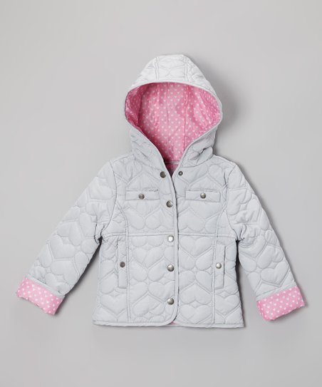 Silver Heart Quilted Hooded Jacket - Infant, Toddler & Girls