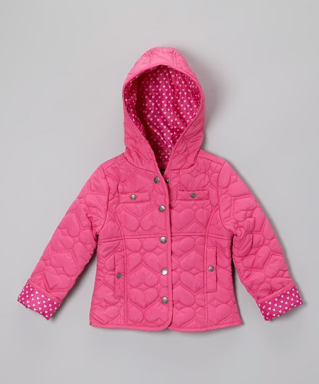 Fuchsia Heart Quilted Hooded Jacket - Infant, Toddler & Girls