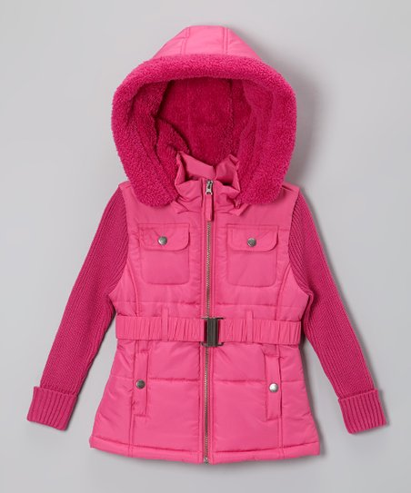 Fuchsia Detachable Sherpa Hood Jacket - Infant, Toddler & Girls