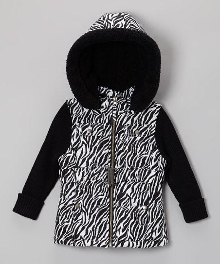 Black Zebra Detachable Hood Jacket - Infant, Toddler & Girls