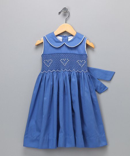 Naval Blue Smocked Dobby Dress - Infant, Toddler & Girls