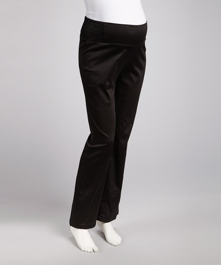 Black Shirred Over-Belly Maternity Pants