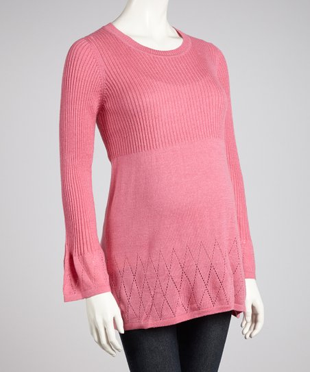 Pink Pointelle Maternity Sweater