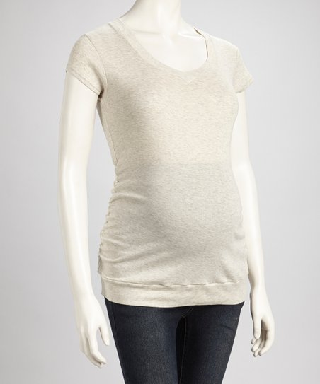 Oatmeal Ruched Maternity V-Neck Tee - Women