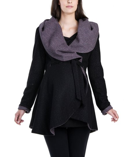 Sparkle Black & Pink Adri Wool-Blend Reversible Maternity Coat
