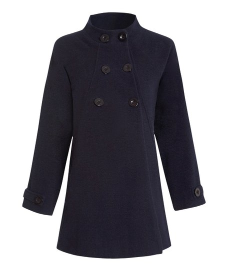 Navy Wool-Blend Maternity Swing Peacoat