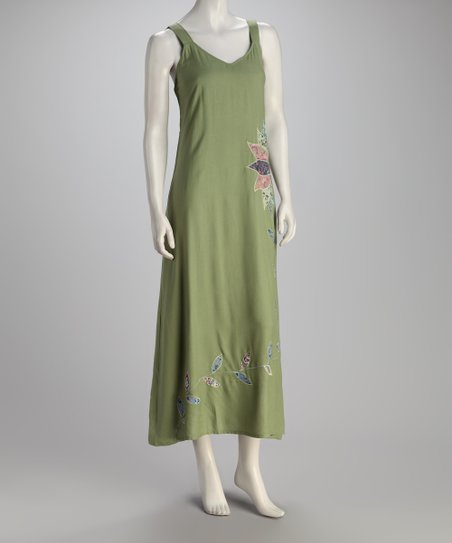 Green Pinwheel Flower Maxi Dress - Women