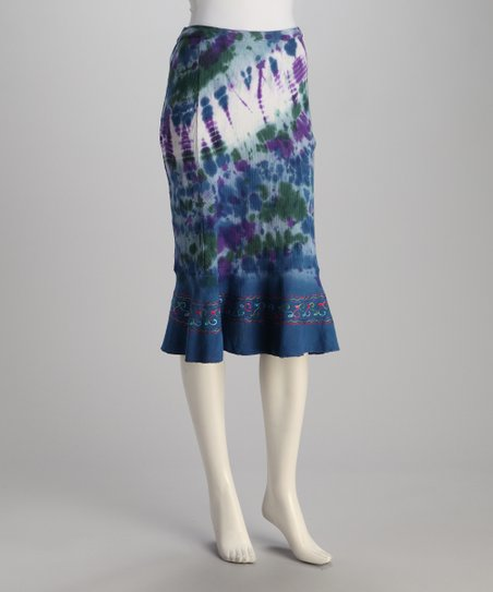 Blue Tie-Dye Skirt - Women