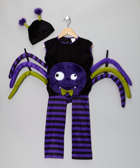 Purple Spider Dress-Up Playsuit & Beanie - Infant, Toddler & Kids
