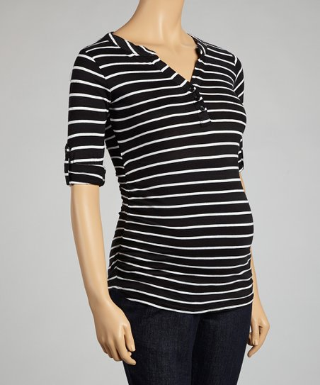 Black & White Stripe Maternity Three-Quarter Sleeve Top