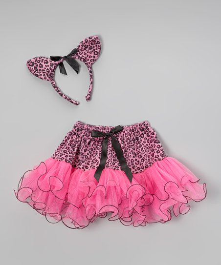 Pink Cat Skirt & Headband - Toddler & Girls