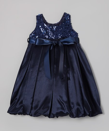 Navy Blue Sequin Bubble Dress - Toddler & Girls