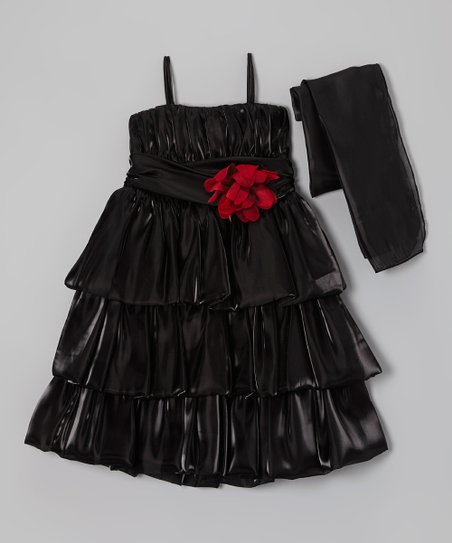 Black Flower Organza Dress & Wrap – Toddler & Girls