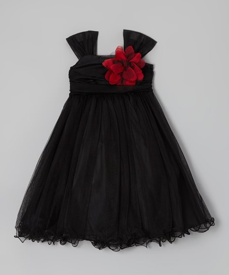 Black Flower Dress - Toddler & Girls