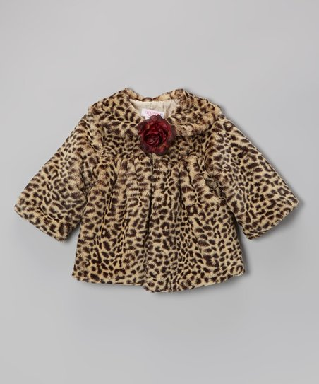 Tan Cheetah Rose Faux Fur Jacket - Infant, Toddler & Girls