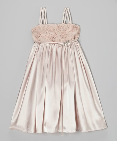 Dusty Rose Rosette Satin Babydoll Dress – Toddler & Girls