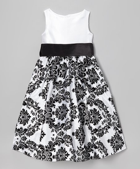 White & Black Damask Dress - Toddler & Girls