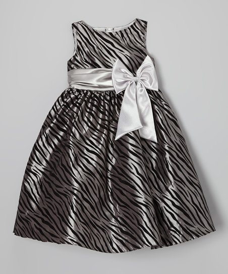Silver Zebra Bow A-Line Dress – Toddler & Girls