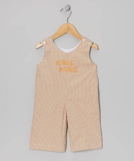 Beige Gingham 'Gobble Gobble' Overalls - Infant & Toddler