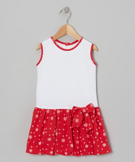 Red & White Snowflake Drop-Waist Dress - Infant, Toddler & Girls