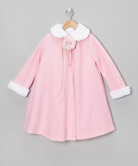 Pink Rose Faux Fur Swing Coat - Toddler & Girls