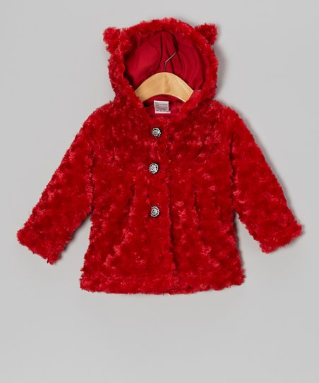 Red Minky Rosette Faux Fur Coat - Infant