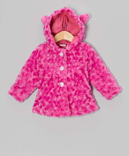Pink Minky Rosette Faux Fur Coat - Infant