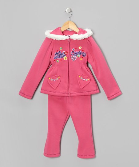Pink Love Zip-Up Hoodie & Pants - Toddler & Girls