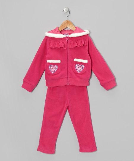 Pink Love Fleece Zip-Up Hoodie & Pants - Toddler & Girls