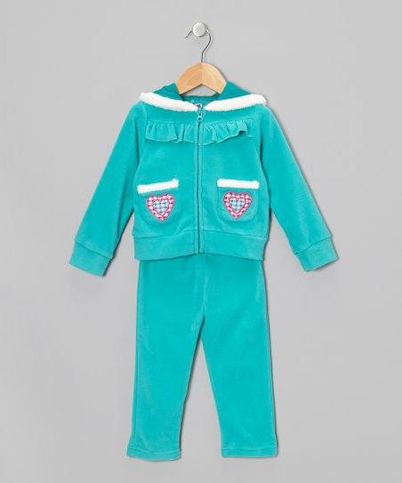 Teal Love Fleece Zip-Up Hoodie & Pants - Toddler & Girls