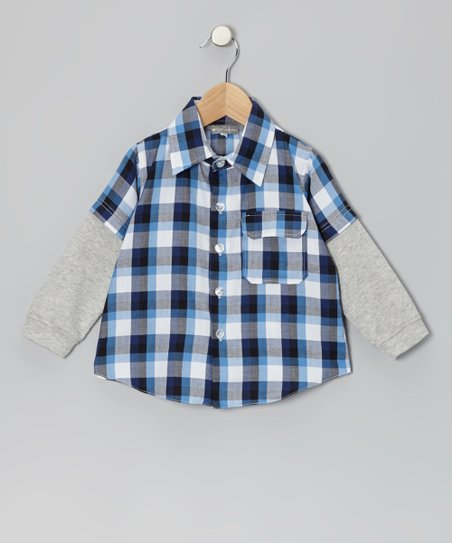 Blue Plaid Layered Button-Up - Infant & Toddler
