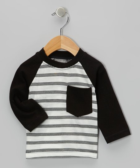 Black Stripe Pocket Raglan Tee - Infant & Toddler