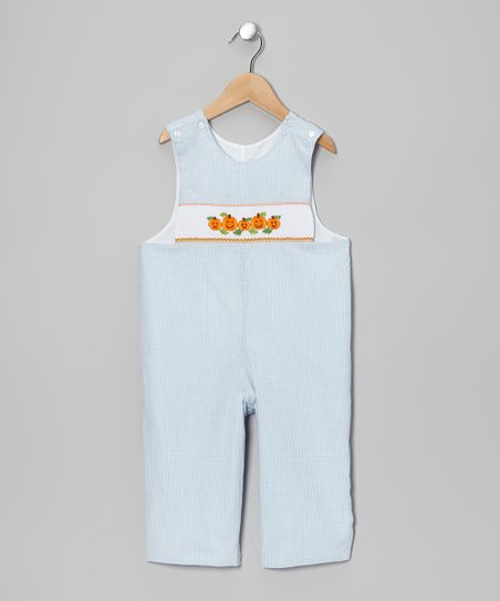 Light Blue & Orange Jack-o'-Lantern Overalls - Infant