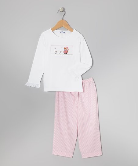 White Bo Peep Top & Pink Stripe Pants - Toddler & Girls