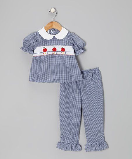 Blue Apples Puff-Sleeve Top & Pants - Toddler & Girls
