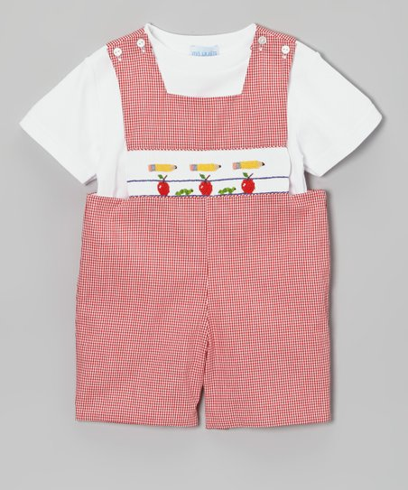 White Tee & Red Gingham School John Johns - Toddler