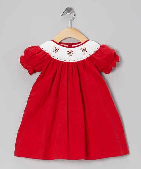 Red Candy Cane Corduroy Bishop Dress - Infant & Toddler