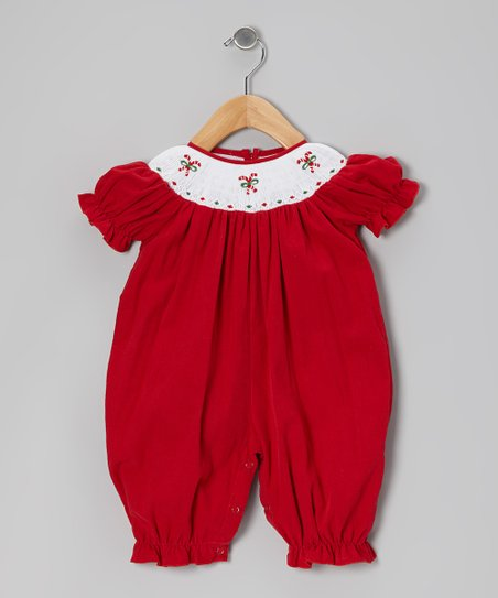 Red Candy Cane Corduroy Playsuit - Infant