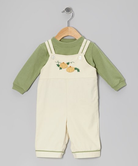 Forest Green Tee & Ivory Pumpkin Corduroy Overalls - Infant