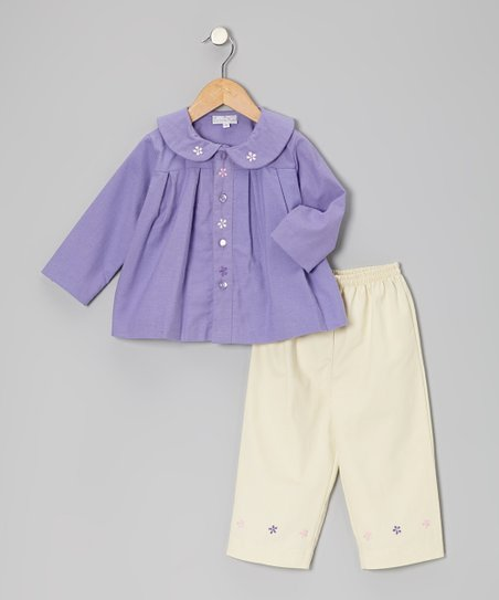 Purple Embroidered Top & Ivory Pants - Infant & Toddler