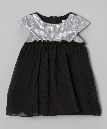 Black & Silver Sequin Bodice Dress - Infant, Toddler & Girls
