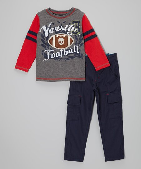 Gray 'Varsity Football' Tee & Blue Cargo Pants - Boys