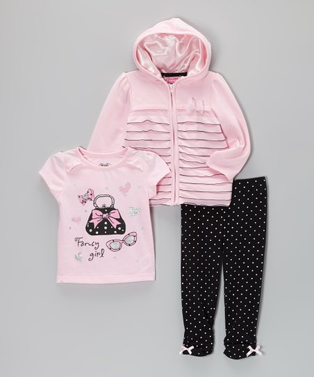 Light Pink & Black Zip-Up Hoodie Set - Infant