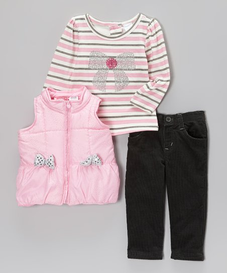 Pink Sequin Bow Puffer Vest Set - Infant