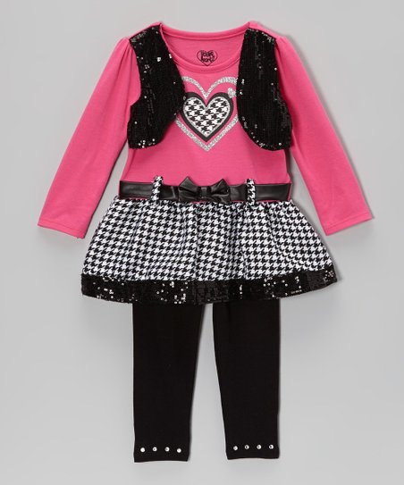Pink & Black Sequin Top & Leggings - Infant, Toddler & Girls