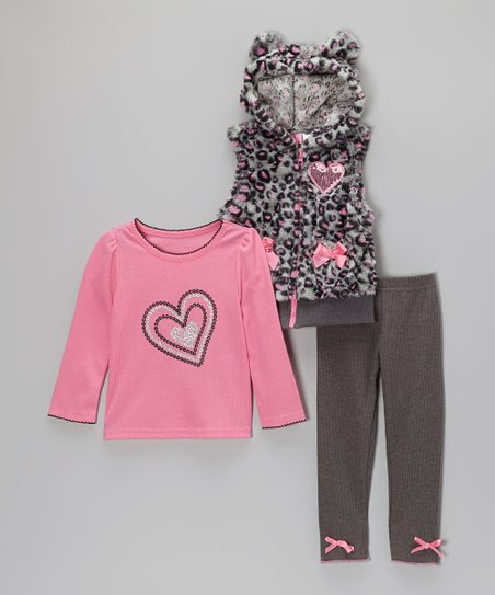 Pink & Gray Leopard Faux Fur Vest Set - Infant, Toddler & Girls