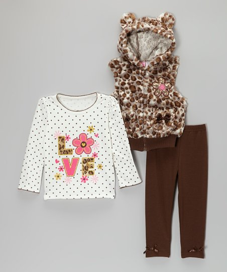 Brown & White Leopard Faux Fur Vest Set - Infant, Toddler & Girls