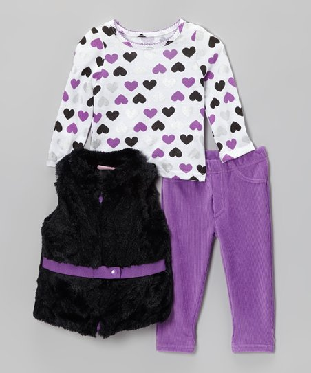 Purple & Black Belted Faux Fur Vest Set - Infant, Toddler & Girls