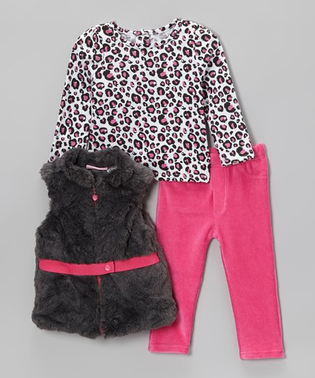 Pink & Black Belted Faux Fur Vest Set - Infant, Toddler & Girls