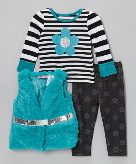 Blue & Black Stripe Faux Fur Vest Set - Infant & Toddler